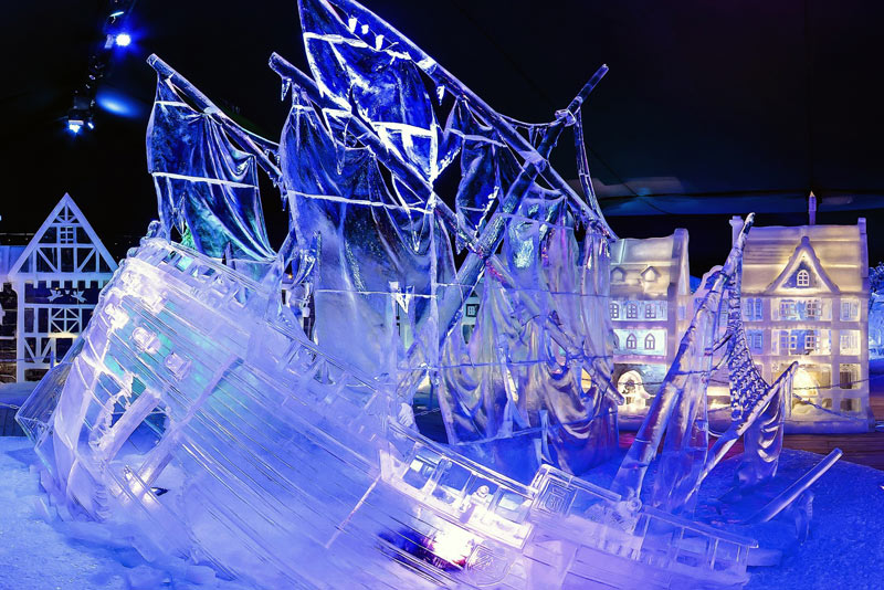Ice Magic Eisskulpturenausstellung Linz Schiff